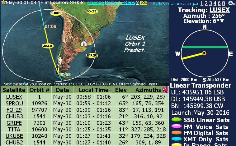 Lusex first Orbit calculation Click for more passes